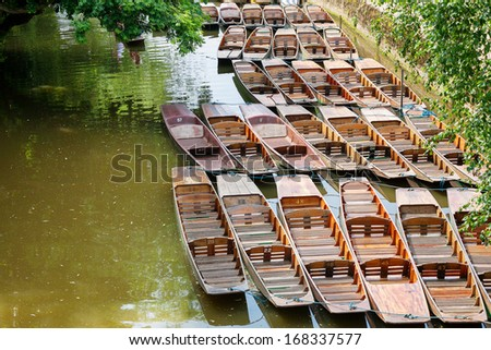 Punts on the river. Oxford, Oxfordshire, England - stock photo
