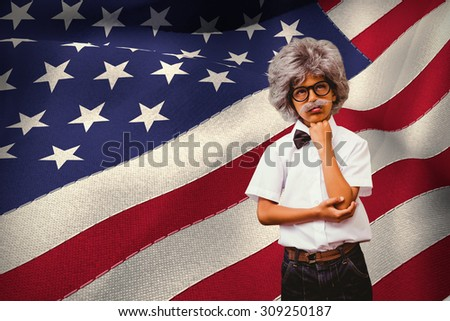 Pupil dressed up in wig against digitally generated american national flag - stock photo