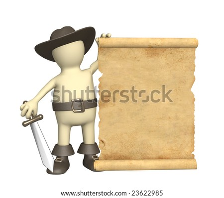 Puppet - pirate with ancient manuscript - stock photo