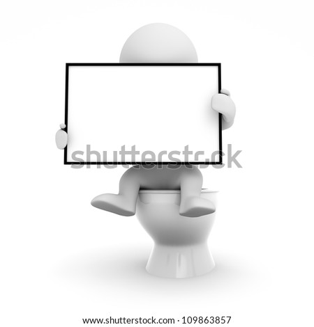 puppet sitting on the toilet - stock photo