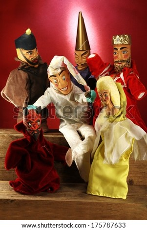 puppet theater - Kasper and his friends - stock photo