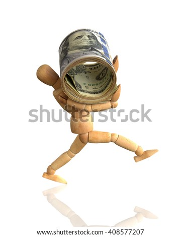 Puppetry carrying money on white background with clipping path. - stock photo