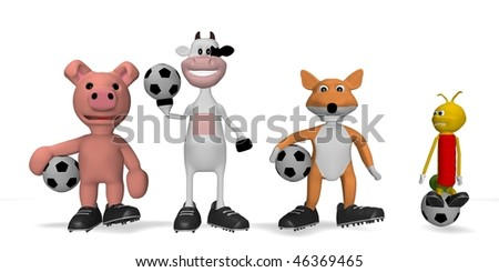 puppies with a soccer ball - stock photo