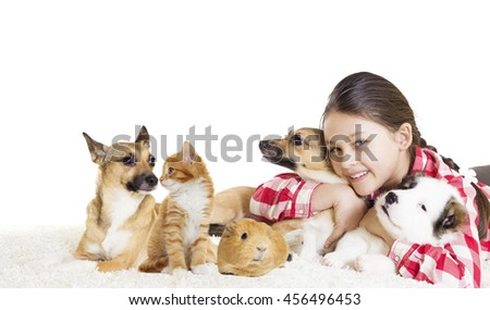 Puppy and girl - stock photo