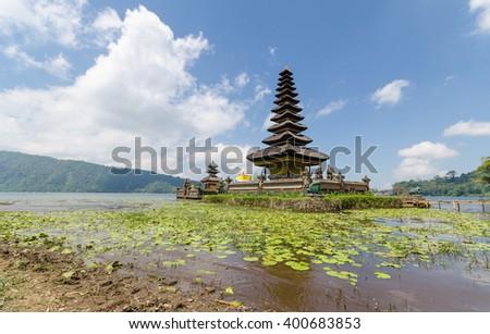 Pura ulun danu bratan famous hindu temple in bali indonesia - stock photo