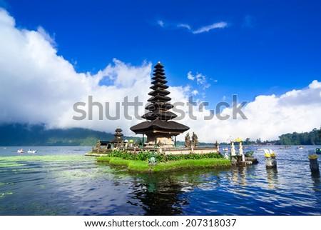 Pura Ulun Danu Bratan is a major water temple on Lake Bratan, Bali, Indonesia - stock photo