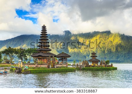 Pura Ulun Danu temple on a lake Beratan a tourist attraction in Bali Indonesia - stock photo