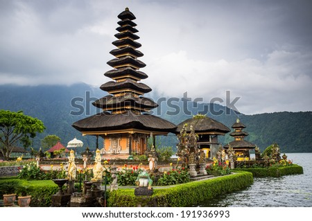Pura Ulun Danu temple on a lake Beratan. Bali, Iindonesia - stock photo