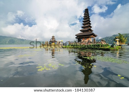 Pura Ulun Danu temple on a lake Beratan, Bali, Indonesia - stock photo