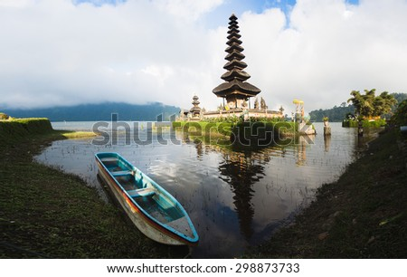 Pura Ulun Danu temple on a lake Beratan (Bratan). Bali - stock photo