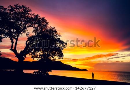 Pura Vida. Sunset in Coco beach, Guanacaste, Costa Rica, Central America. Travel Concept - stock photo