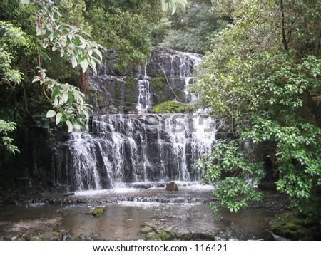 Purakaunui Falls, New Zealand - stock photo