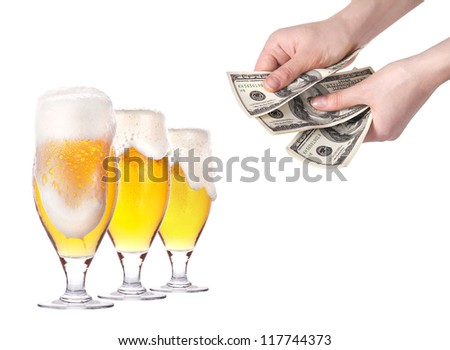 purchase and sale of beer isolated on a white background - stock photo