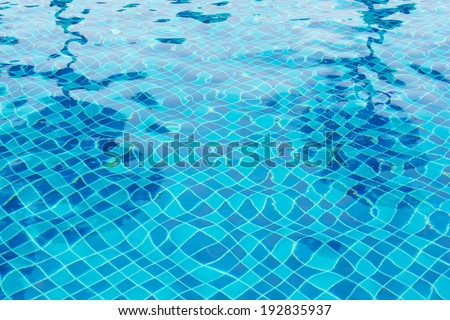 Pure blue water in the pool. Water background. - stock photo