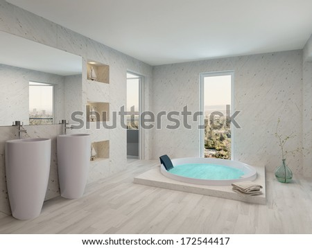 Pure clean white bathroom interior with bathtub - stock photo