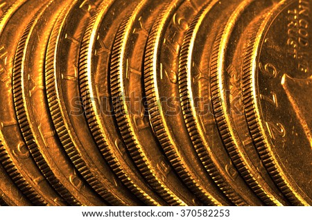 Pure gold coins and bars bullion - stock photo