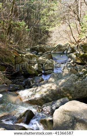 Pure stream in the autumn in mountains - stock photo