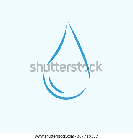 Pure water logo, 2d raster icon on light blue background - stock photo