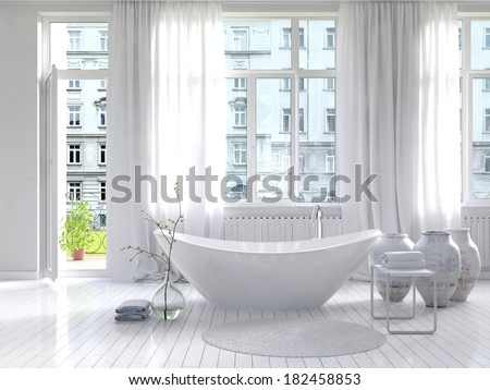 Pure white bathroom interior with separate bathtub - stock photo