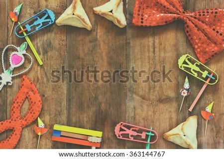 Purim celebration concept (jewish carnival holiday). selective focus  - stock photo