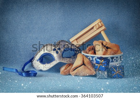 Purim celebration concept (Jewish carnival holiday). selective focus  - stock photo