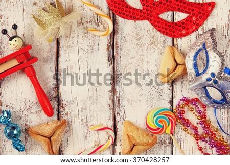 Purim celebration concept (jewish carnival holiday). selective focus. - stock photo