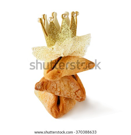 Purim celebration concept (jewish carnival holiday). selective focus. isolated on white - stock photo