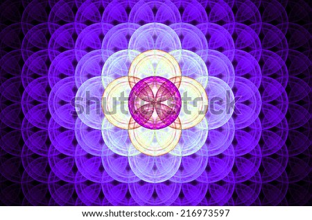 Purple abstract fractal background with a detailed decorative flower of life pattern spreading from the center which is in bright pink and yellow colors - stock photo