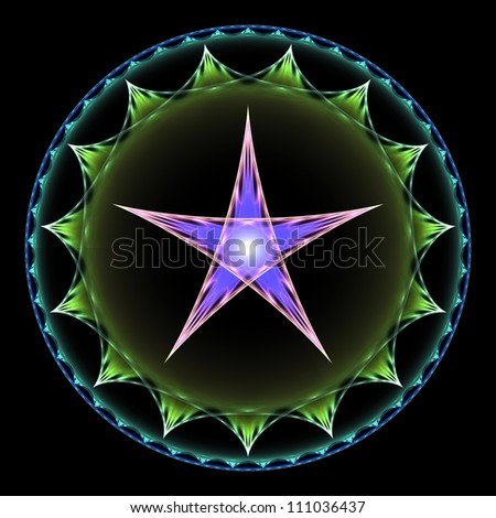 Purple and green pentangle abstract fractal design for backgrounds and wallpapers - stock photo