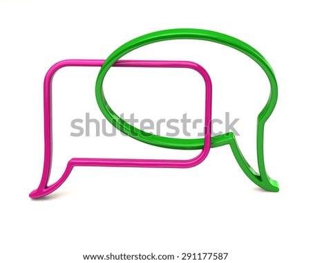 Purple and green speech bubbles icon  - stock photo
