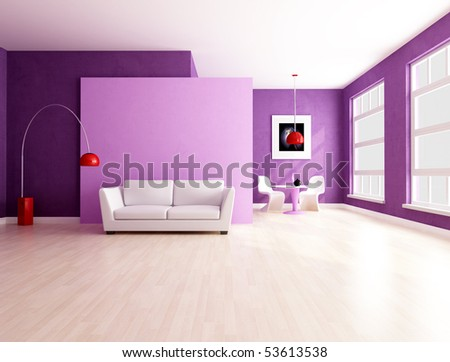 purple and lilla living room with dining space - rendering - stock photo