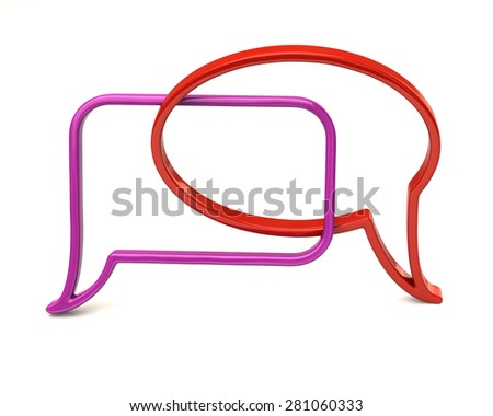 Purple and red speech bubbles icon  - stock photo