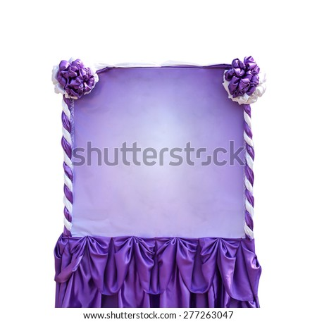 purple and white color fabric Isolated on white background. - stock photo
