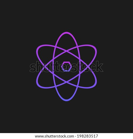 Purple atom on a black background - stock photo