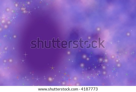Purple background with dreamy effect and clouds with twinkles. Great for birthday card or invitation. - stock photo