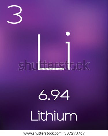 Purple Background with the Element Lithium - stock photo