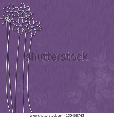 Purple background with white flowers and butterflies. - stock photo