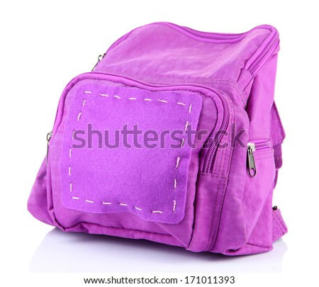Purple backpack supplies isolated on white - stock photo