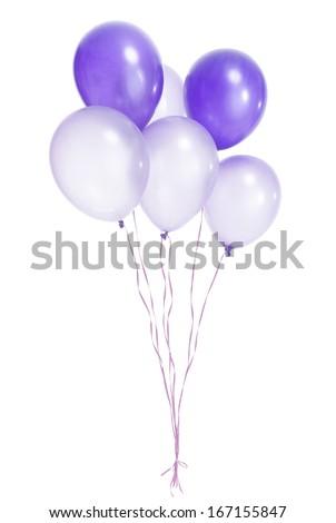 Purple balloons on white background - stock photo