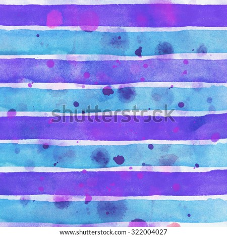 Purple blue Watercolor hand painted brush strokes, striped background - stock photo