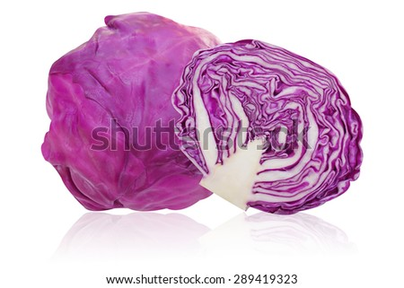 Purple cabbage isolated on white background - stock photo