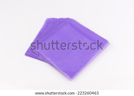 Purple CD paper case or disc sleeve on white background - stock photo