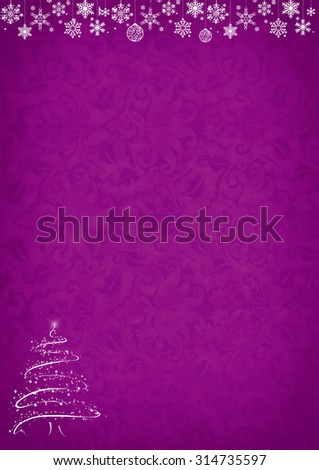 Purple Christmas pattern background with snowflakes, decorations, christmas tree and copy space - stock photo