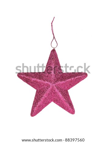 purple christmas star isolated on white background - stock photo