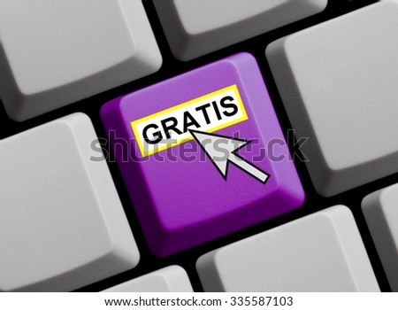 Purple Computer Keyboard with Mouse Arrow showing Free in german language - stock photo