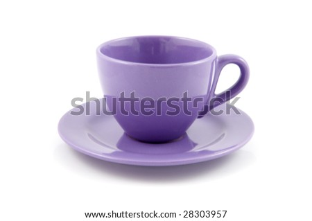 Purple cup of coffee - stock photo