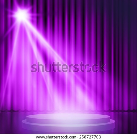 Purple curtains on theater with spotlight. - stock photo