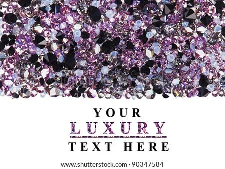 Purple diamond jewel stones luxury background with copy space on white - stock photo