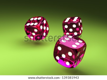 Purple Dice on green table - stock photo