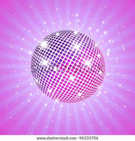 Purple disco ball - stock photo